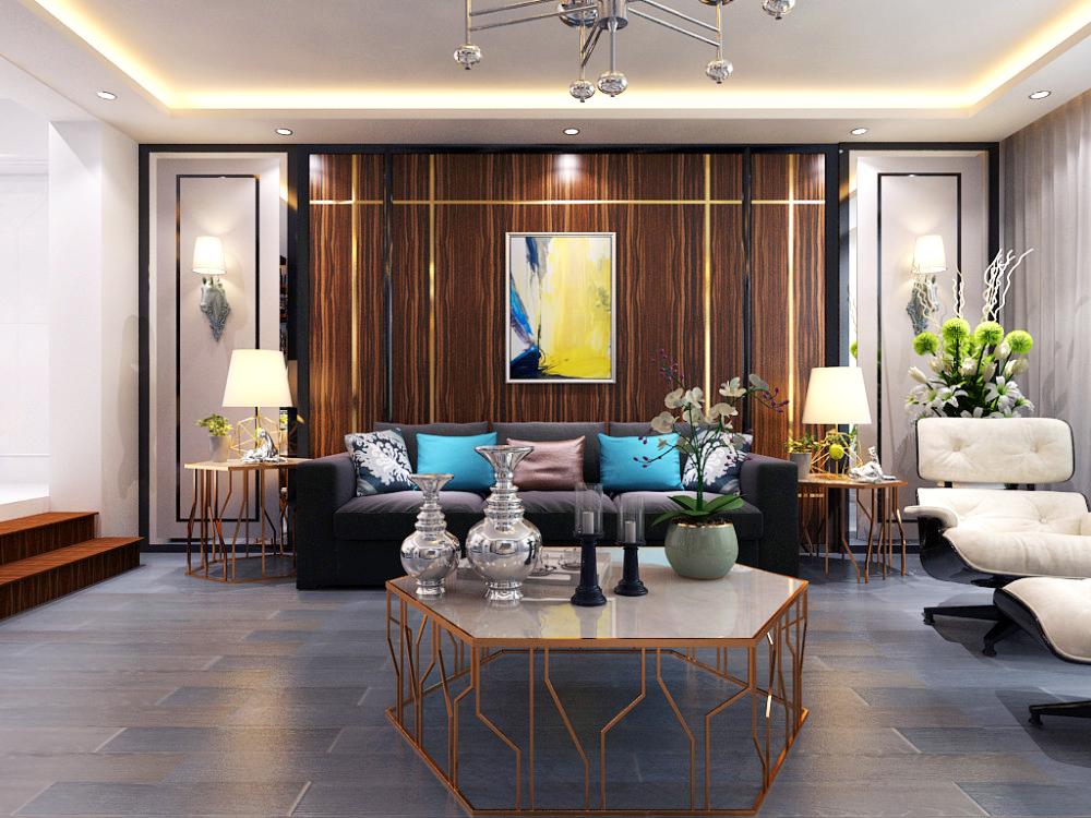 沙发背景墙主题颜色采用斑马木,和硬包,两种组合有一种深浅搭配,左右图片