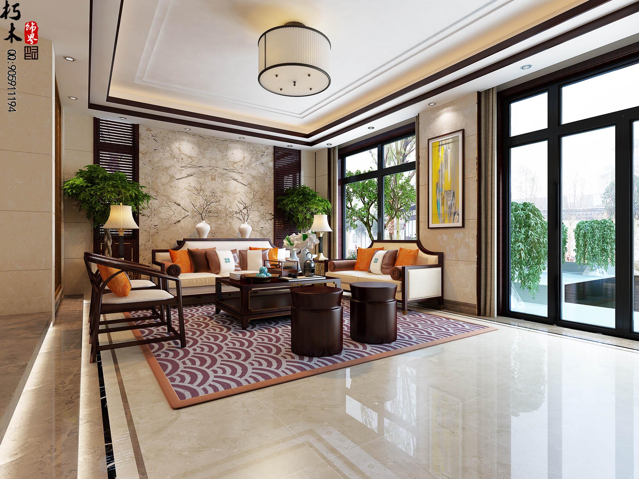 贝多芬公馆-新中式风格-三居室-装修案例设计说明图片