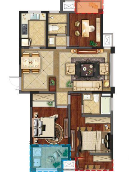 聚湖半岛-现代简约-三居室-装修案例设计说明