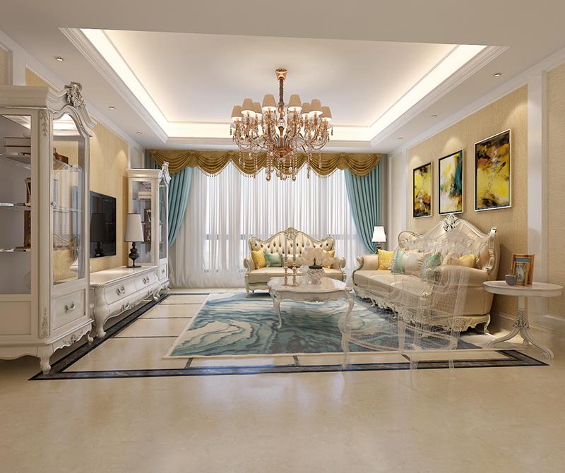 沙发和电视柜等家具采用了经典的白金色,再加上欧式风格的造型,整个空间显得优雅素净,纯洁有质感。
