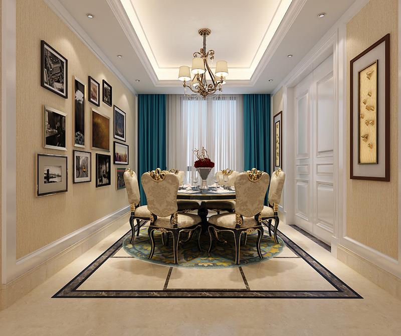 圆形的餐桌再搭配上圆形的地毯,一家人围绕而坐,和谐美满,墙上的照片也很有家的感觉。