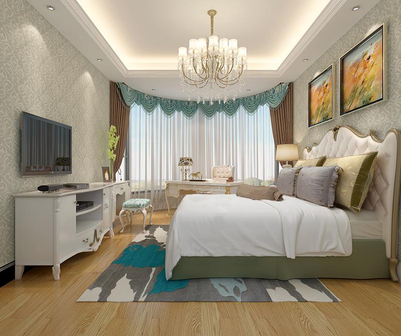 弧形的落地窗增加了空间的曲线美,欧式风格的床,宽大舒适。