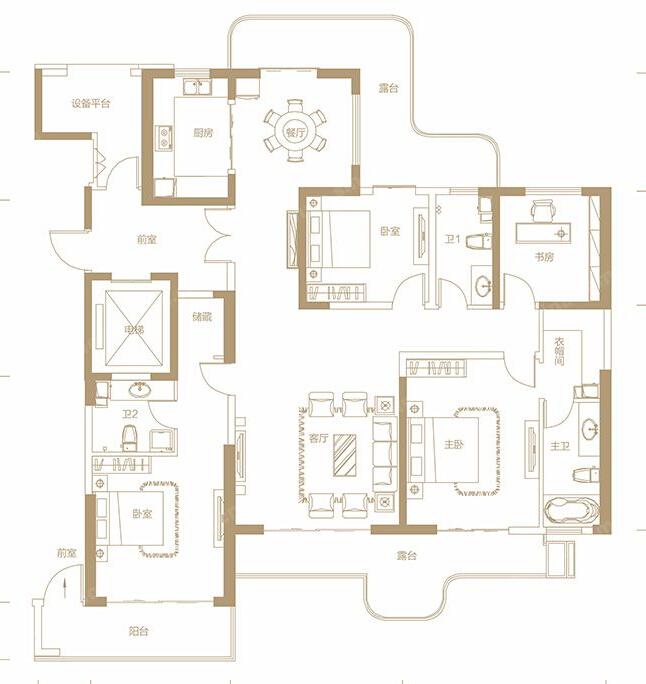 瀚海晴宇200平米四居室欧美风格设计案例图片
