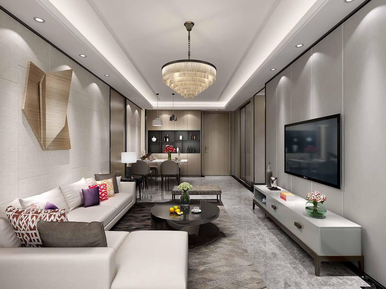 背景墙的工艺品视觉效果强烈,吊顶的设计轻奢暖色,使得整个客厅温暖舒图片