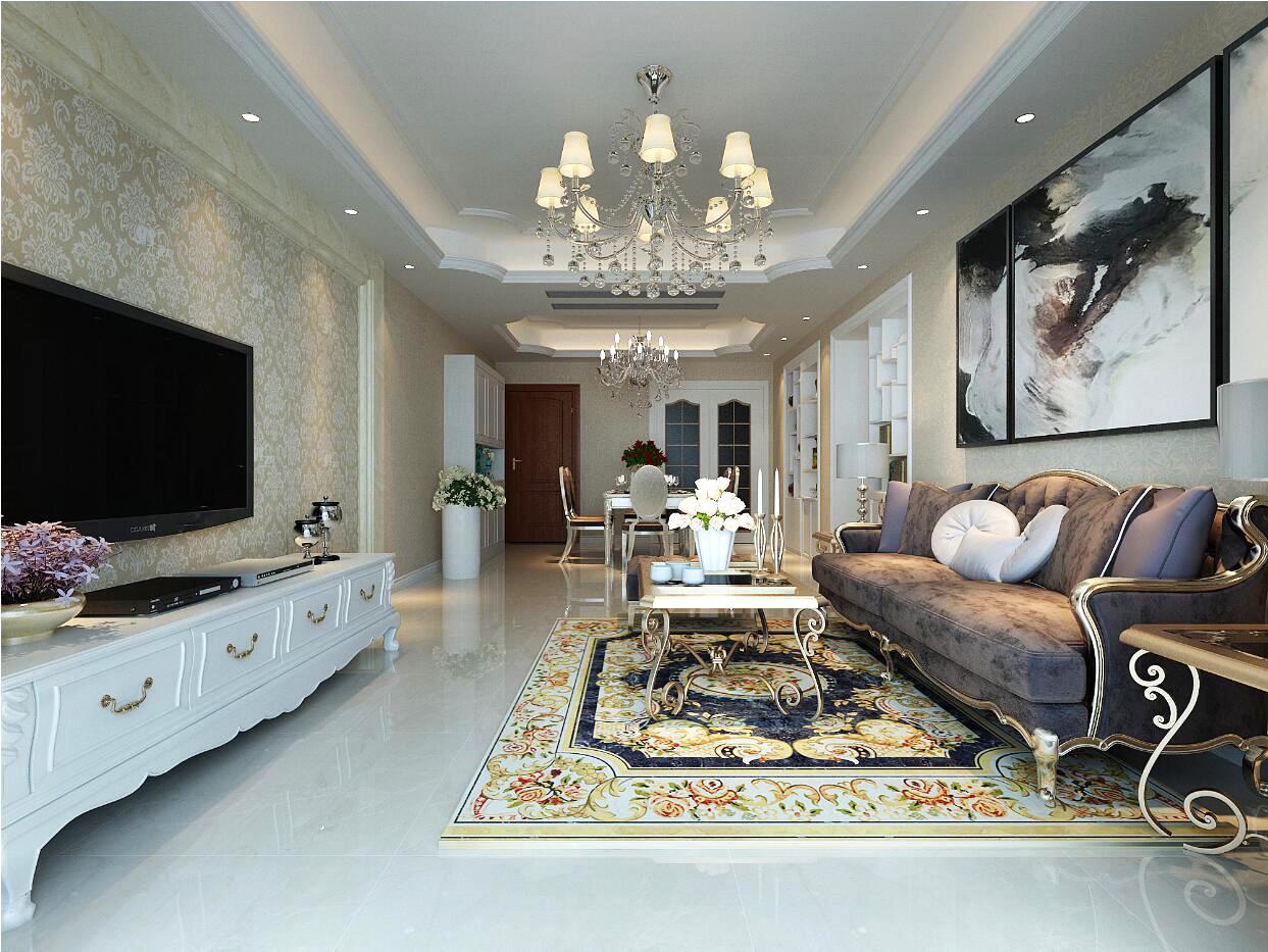 北京麟凤尊汇简欧风格二居室装修效果图_94平米10万-.图片