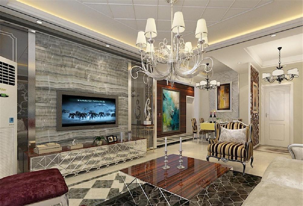 设计说明本次案例设计的是混搭风格。混搭指的是现代和欧式相混搭,用了很多的高反光的镜面效果,营造出一种奢华之感。入户门厅部分做了一个隔断,用来分隔出入户与餐厅空间。餐厅背景墙用银箔营造出一种高贵;典雅的效果。客厅部分的电视背景墙为灰镜和石材相结合的形式,显得空间很有品味。沙发背景墙和电视背景墙相呼应,同样采用了灰镜材质,沙发在背景墙的映衬下显得非常贵气。主卧室的空间色调定为高雅的黑白灰,突出业主的个人品味。儿童房作为年轻女孩儿的房间,色调相对清新淡雅。为女孩儿营造出温馨的空间。