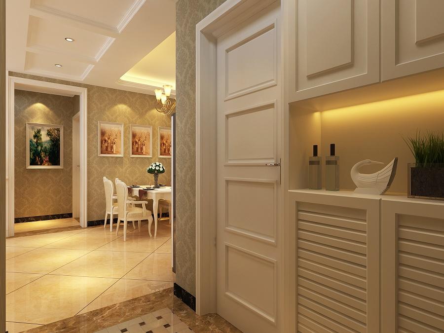 家具都已浅色基调为主,配合软包电视背景墙凸显简欧风格里温馨浪漫的图片
