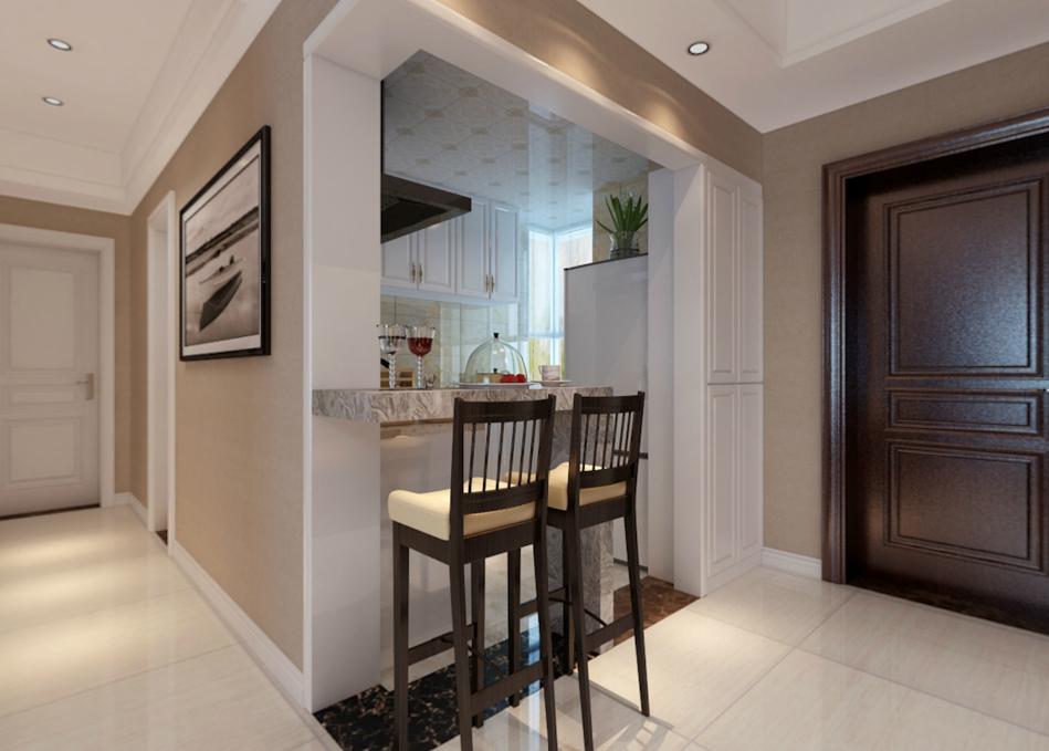 此户型南北通透,但是厨房特别暗,卫生间特别小,彩光也不好,北房间太局促。所以我在设计本案时把能利用的空间全部利用上。厨房做成开放式,并用吧台来做装饰,卫生间利用台盆面的扩大增大空间,小房间做成榻榻米房。这样储藏美观都可兼顾。风格是简约风。