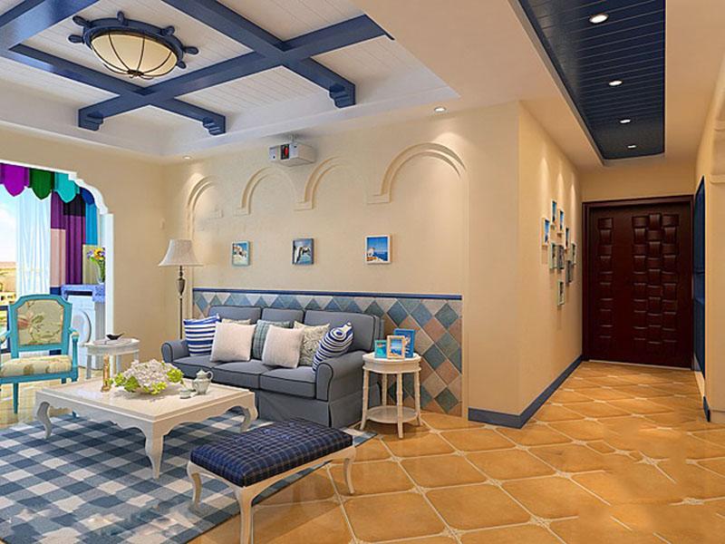 小户型一居室地中海风格装修案例:香山半岛简约地中海风格一居室客厅