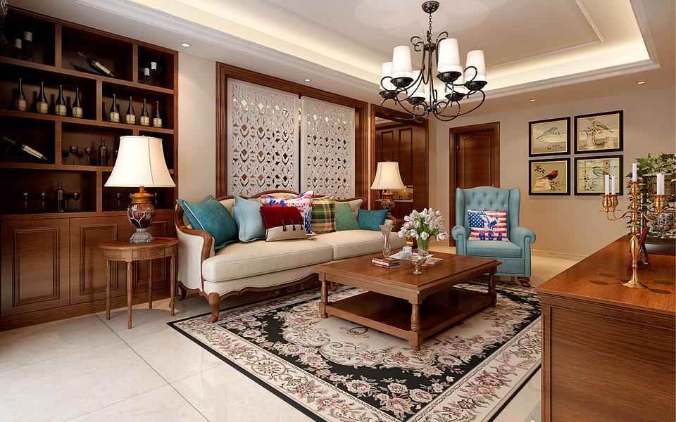 130平米三居室精美装修 美式半包5万!-铂金汉宫装修