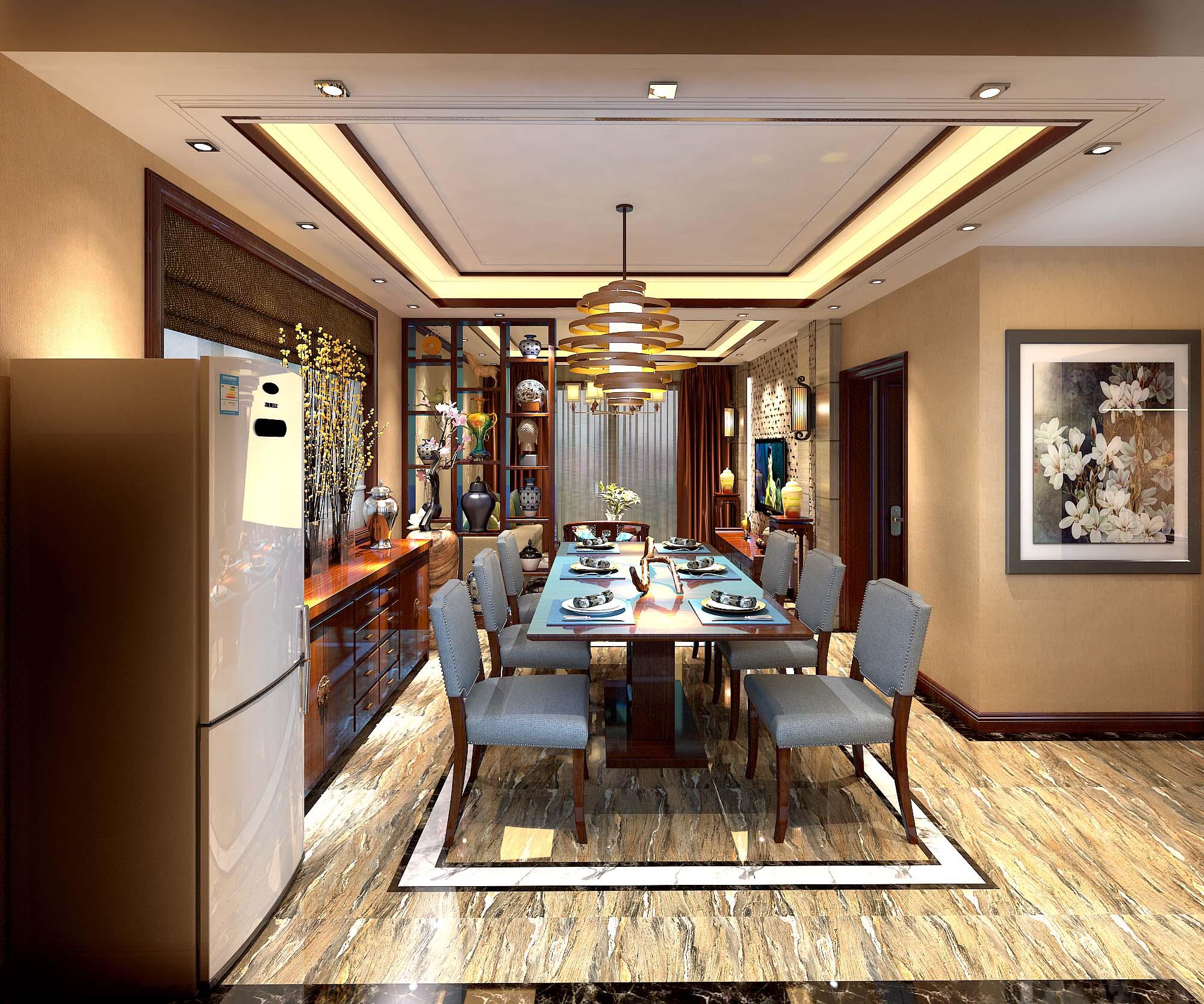 中式风格三居室装修效果图102.60平米10.27万中式风格图片