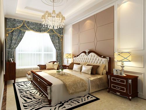 卧室带着奢华水波幔头的窗帘,优雅束之两侧,白纱帘透着柔和光线,使卧室流露出悠扬纯净的空间气息。描银雕花褐红家具、黑白条纹地毯、拉花镶钻床头、华丽金色床品,更增添空间优雅气质。