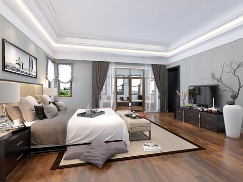 卧室浅灰色的立面并不像白色墙面给人苍白的直射眩晕,更加适宜,橡木地板的色调足够让空间升温,让这个摆满现代简约的家具的空间不仅干练更加绽放着中性设计的美。