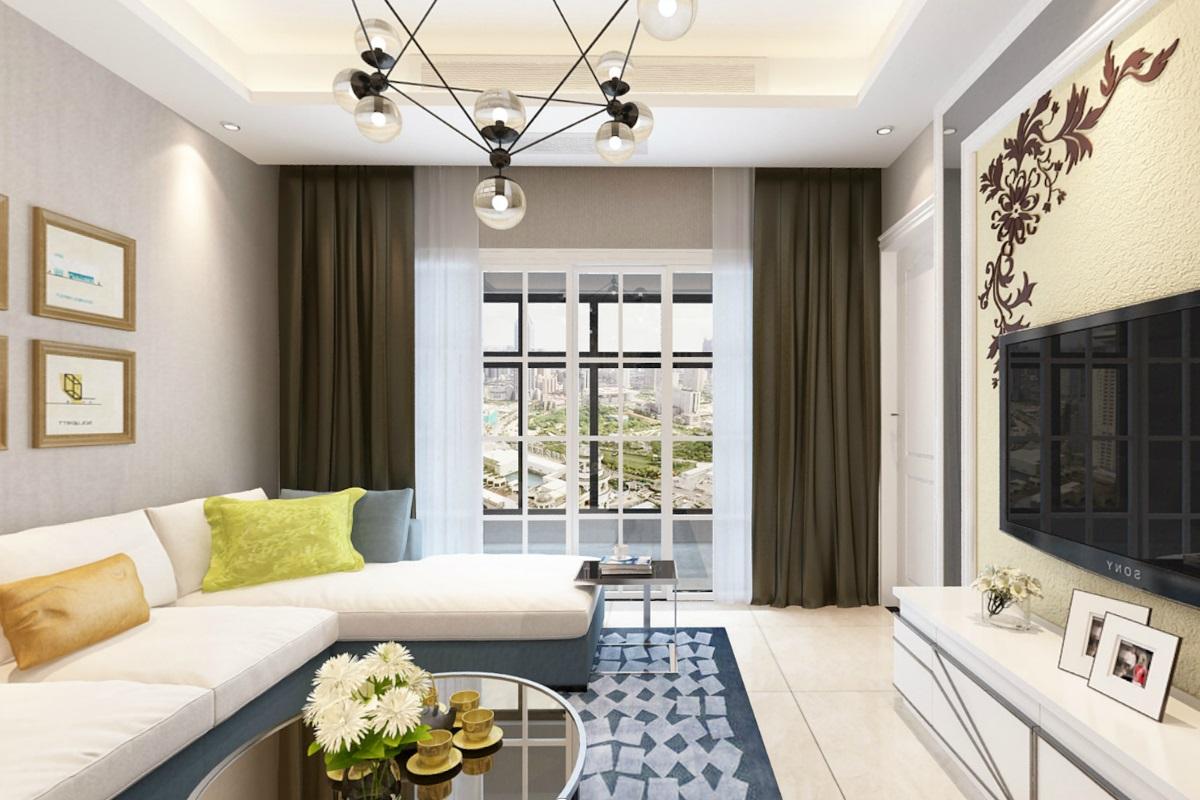 现代简约三居室93平米9万_万裕龙庭水岸装修案例-北京图片