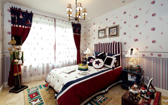 儿童房:儿童房的整个空间多采用红,白,蓝,等颜色作为整个空间的主色调。整个空间氛围随之活跃起来,条纹墙布与床头的条纹相呼应,也不会杂乱,整体和谐统一。