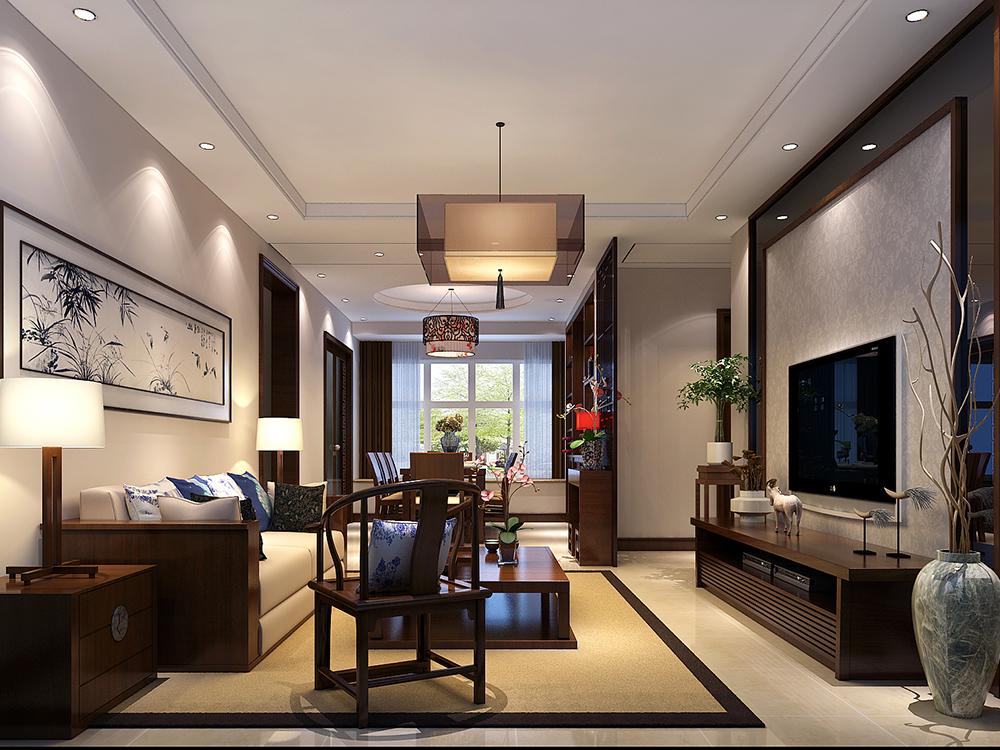 110平米三居室装修案例 中式半包4万!-融创中央学府装修