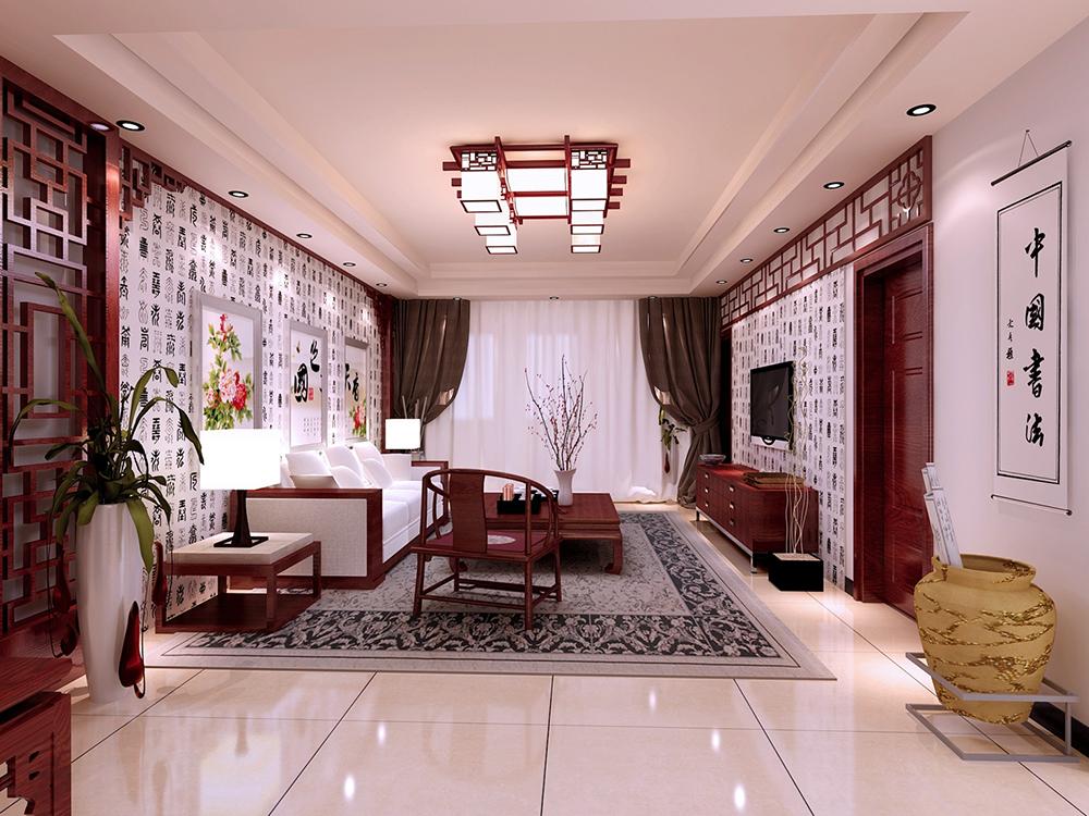 110平米三居室装修秘籍 中式全包6万!-融创中央学府装修