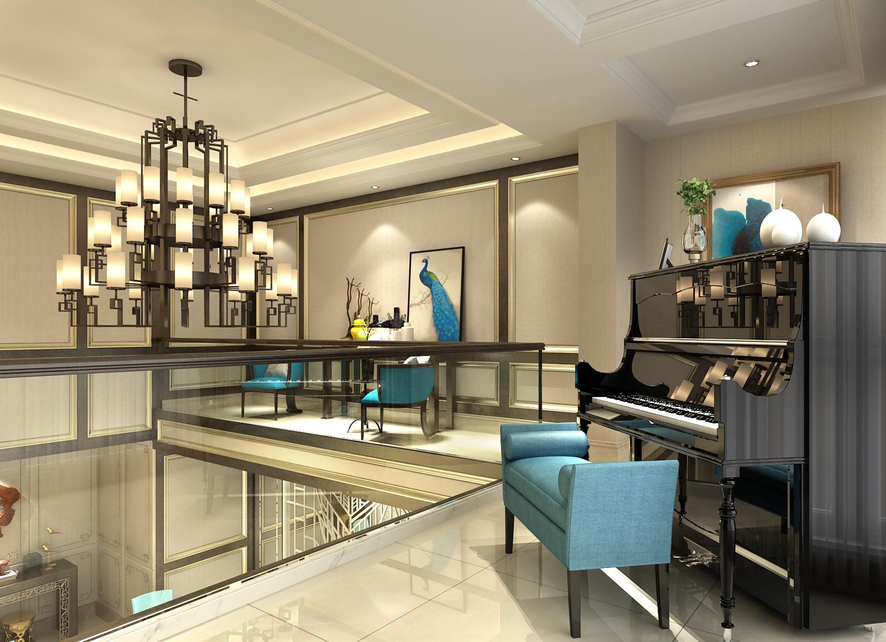 二层钢琴区及休闲区