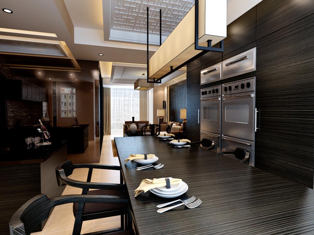 港城温泉花园-港式风格-二居室-装修案例设计说明图片