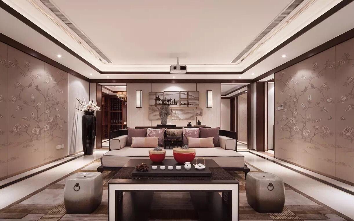 北京泊璟廷新中式风格五居室装修效果图_400平米45万图片
