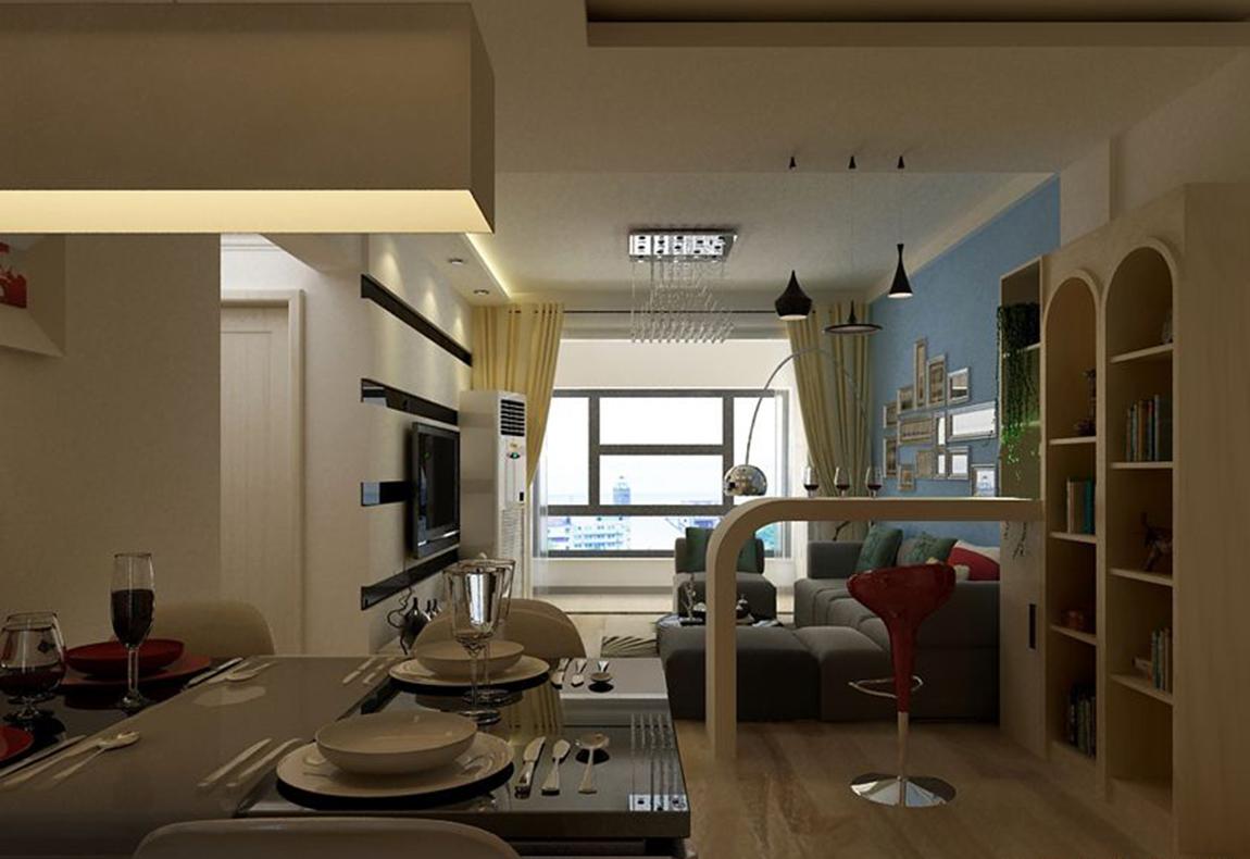 采用低彩度、线条简单且修边浑圆的木质家具与玻璃吊灯相得益彰