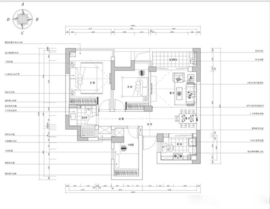 现代简约的装修风格,整体设计上以清新大方为主,简单明了的设计风格。入户右侧为鞋柜,因为此处空间大专门设计了多功能衣柜,既满足了鞋柜功能同时增加了储藏空间,电视墙的特殊处理也是一个亮点,电视墙采用石膏板造型和和镜面,延伸空间。