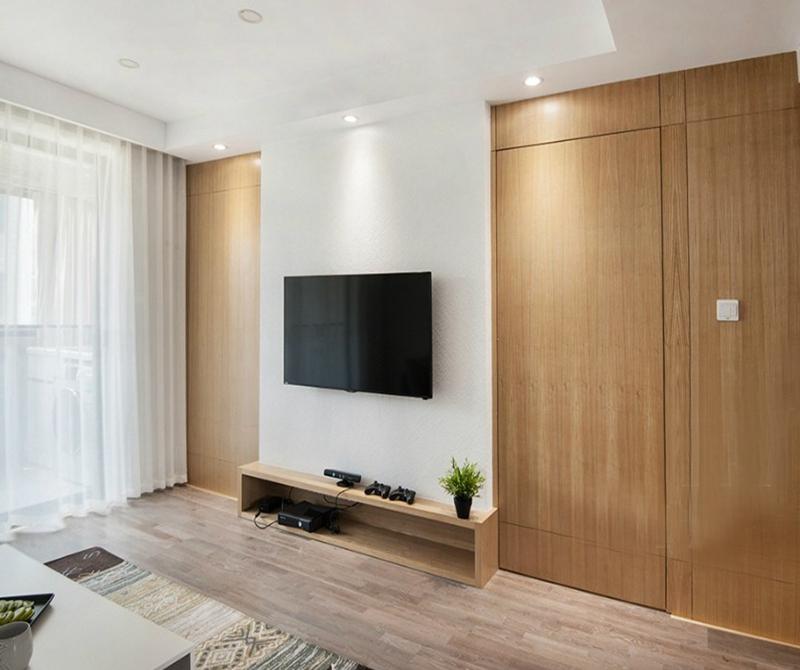 电视墙 窄窄的墙面不加任何装饰,木质的电视柜搭配着木质的隐形门 ,无