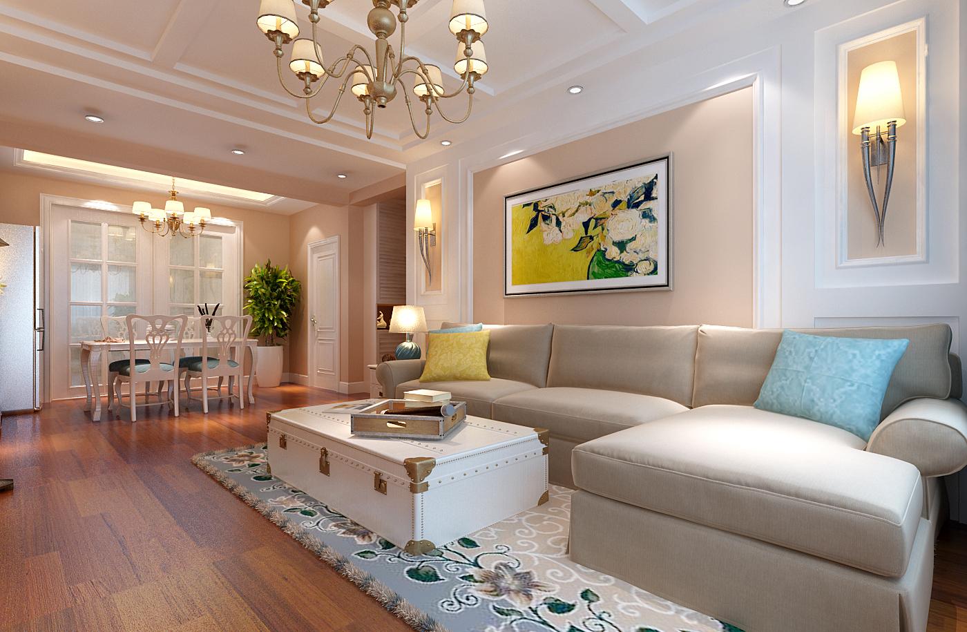 现代美式风格四居室150.8平米0万_紫金新干线装修案例图片