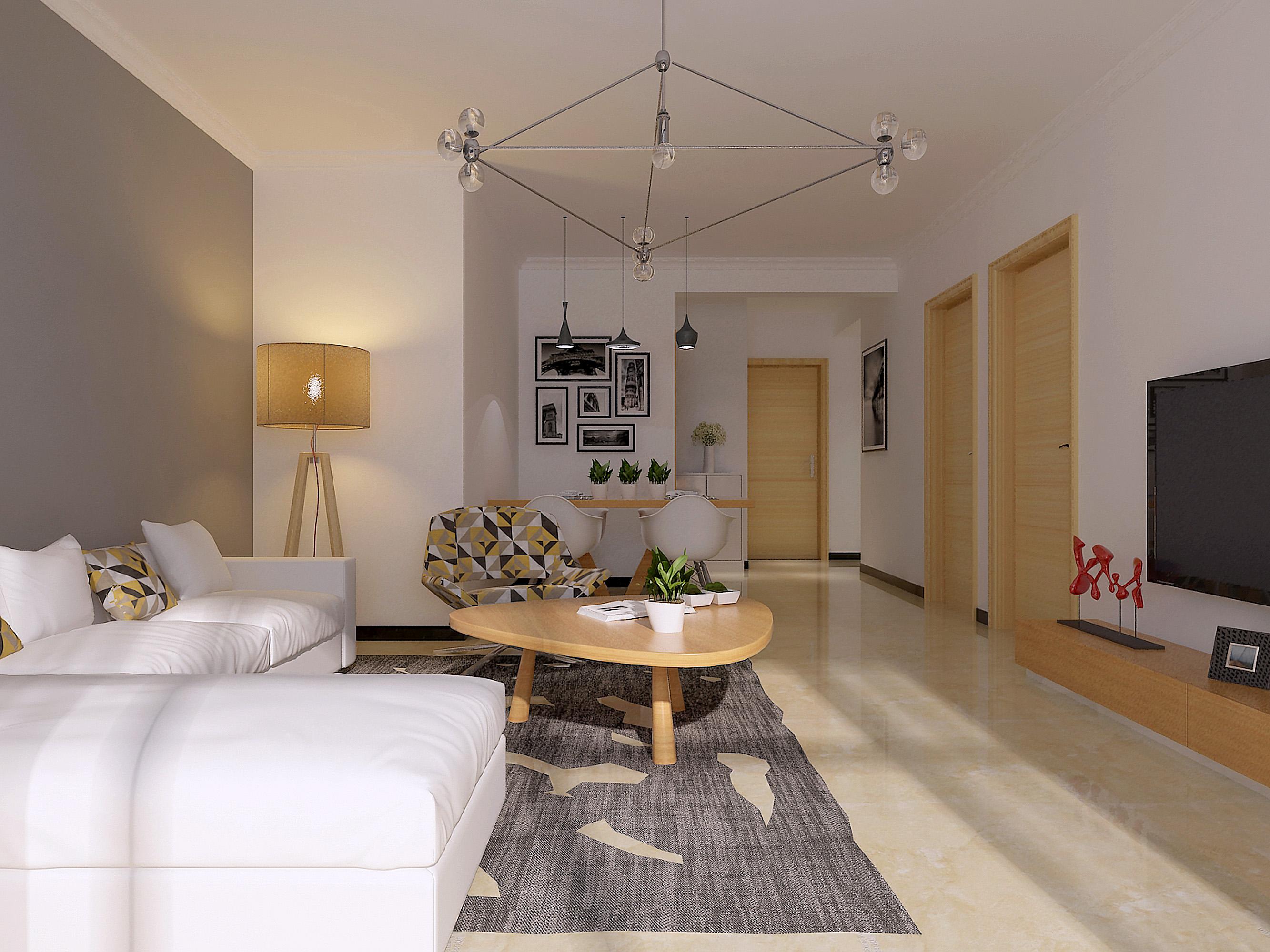 北京中节能健康城简欧风格二居室装修效果图_100平米7图片