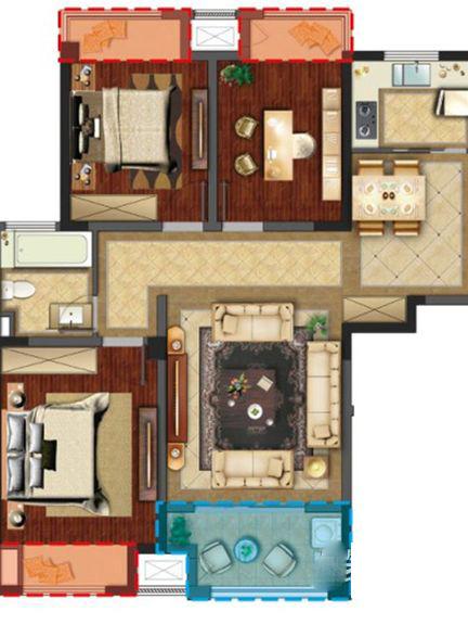 聚湖半岛-田园风格-三居室-装修案例设计说明