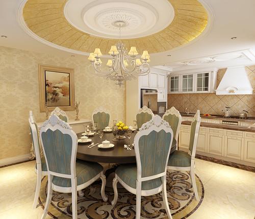 餐厅开放式的厨房全面与餐厅沟通相连,繁复的花样清晰有序的装饰在饰以金箔的天花顶、白边蓝底的餐椅顶端及圆弧形拼花地板上,在暖黄色调赋予空间直观的奢美感中,营造富丽的用餐环境。