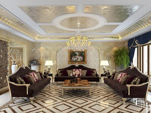 客厅将现代工艺与复古宫廷格调结合,营造出富有欧式古典韵味的唯美空间。棕色银边沙发系列,在图案鲜明的拼花地板上厚重雅致,大马士革印花壁纸愈发衬得罗马柱拱形造型的大气富贵