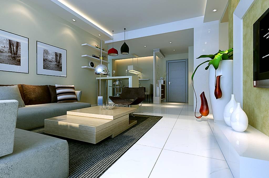 98㎡二居室简约风格客厅背景墙装修效果图-简约风格沙发