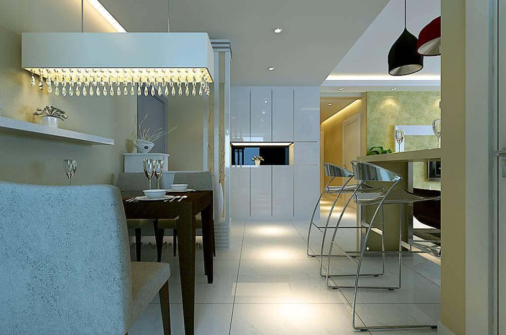 98㎡二居室简约风格餐厅装修效果图-简约餐桌餐椅