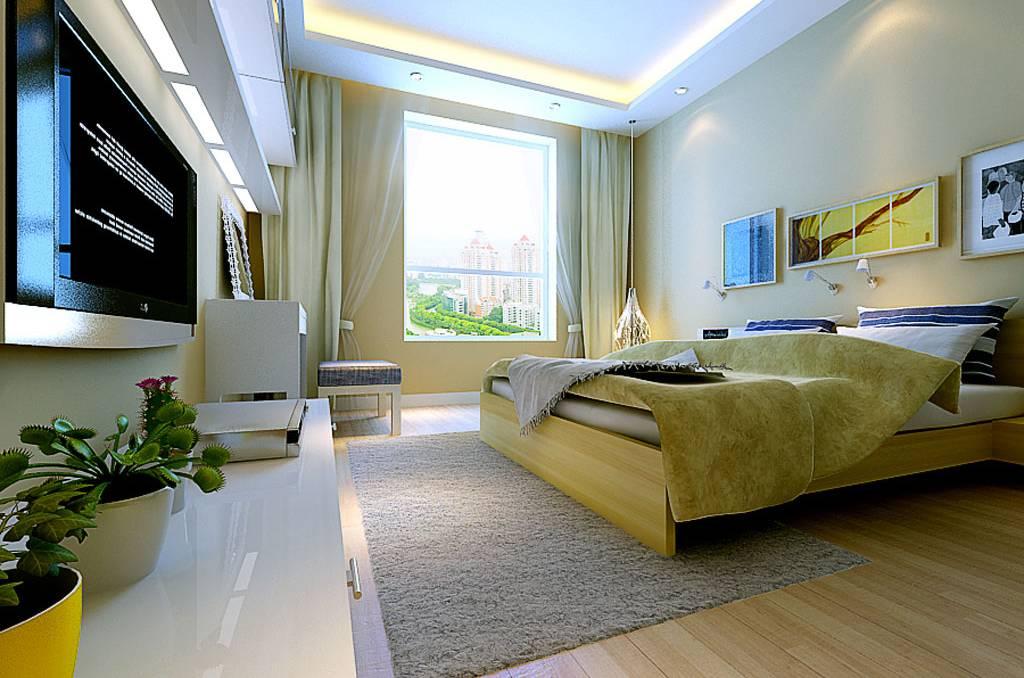 98㎡二居室简约风格卧室背景墙装修效果图-简约风格双人床