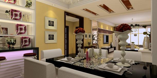 风格三室两厅两卫餐厅背景墙装修效果图-现代风格餐桌