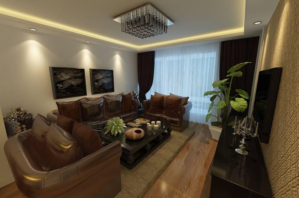 二居室简约风格客厅沙发背景墙装修效果图-简约风格吸顶灯