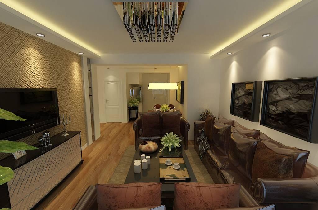 二居室简约风格客厅背景墙装修效果图-简约风格吸顶灯