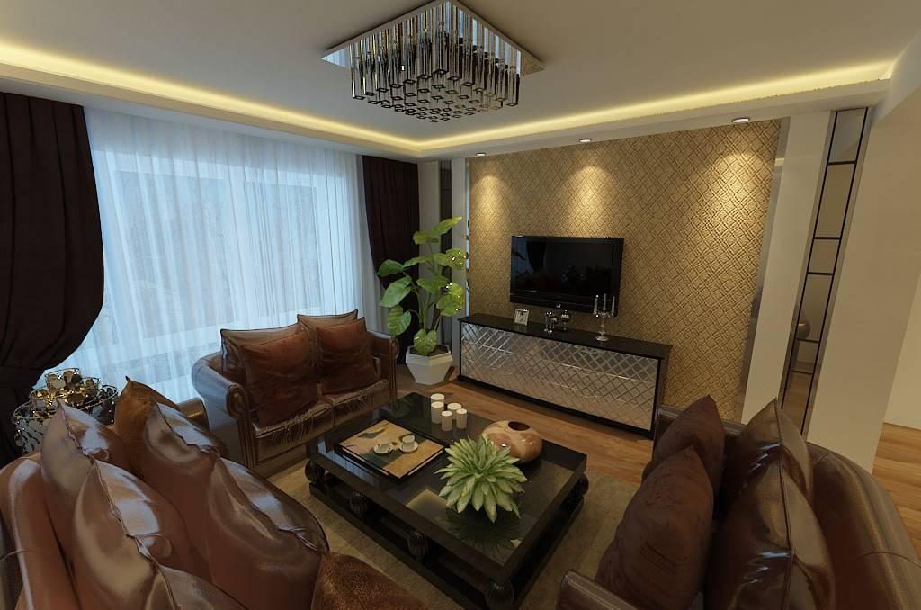 二居室简约风格客厅电视背景墙装修效果图-简约风格吸顶灯