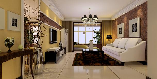 现代风格三室两厅两卫客厅背景墙装修效果图-现代风格沙发