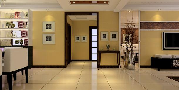 现代风格三室两厅两卫过道吊顶装修效果图-现代风格置物台