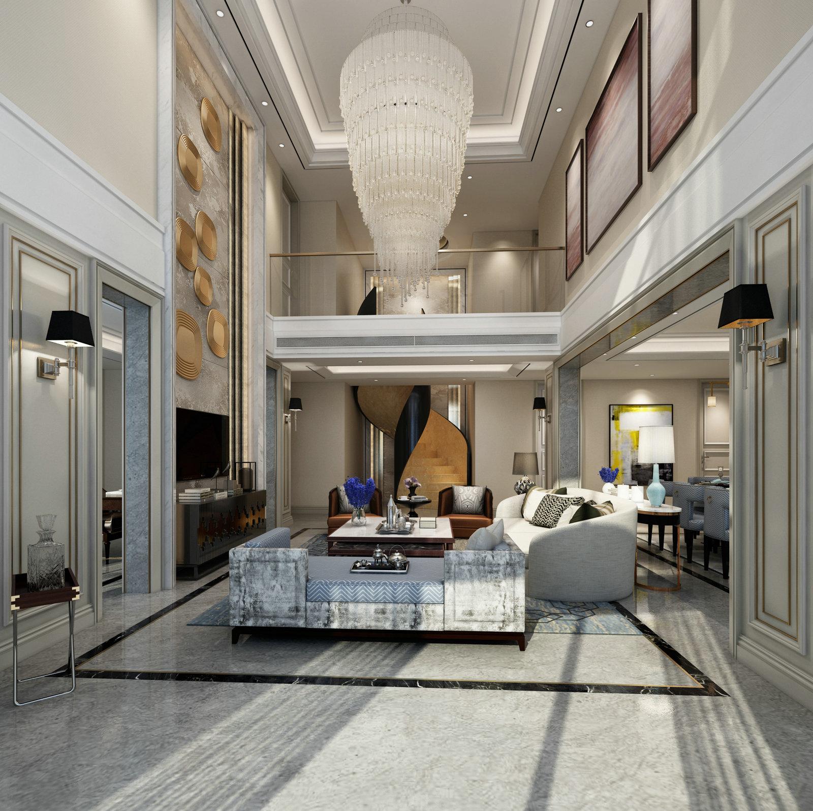 北京国际丽都城混搭风格复式装修效果图_200平米40万图片