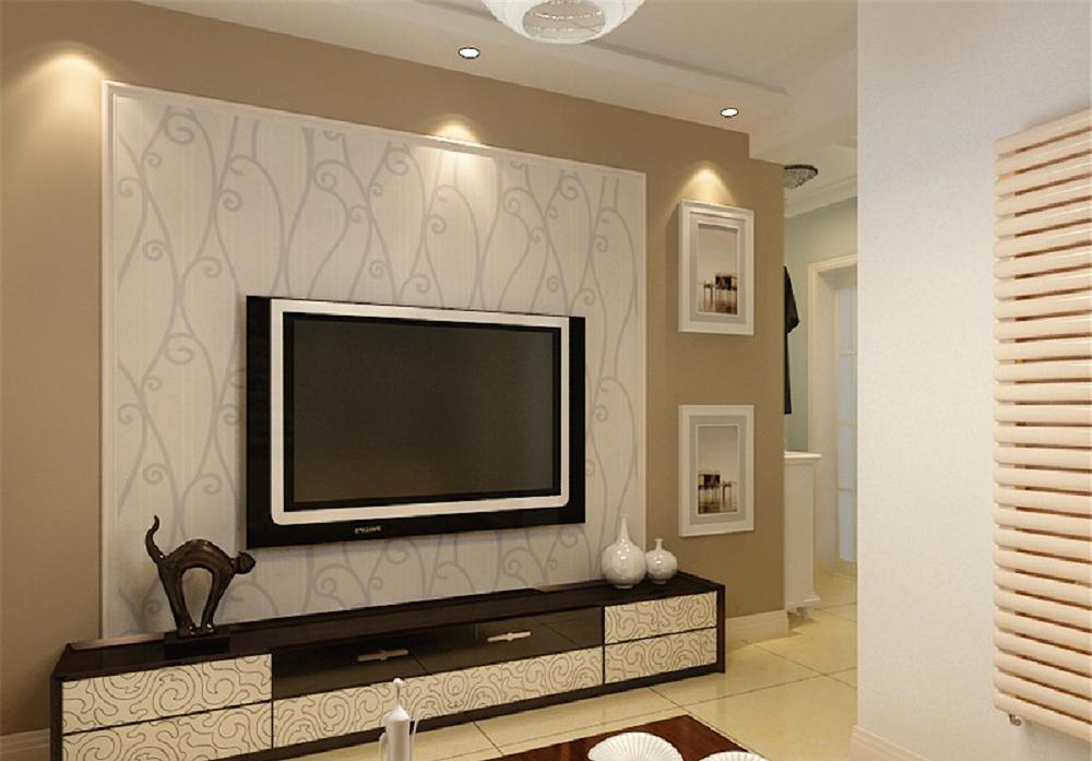 墙体大部分采用淡蓝色,室内家具采用浅色家具为主,沙发背景墙贴深色壁