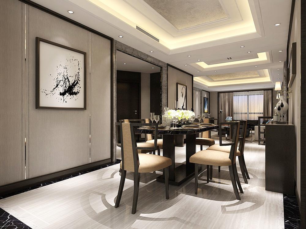 北京世茂新五里河港式风格四居室装修效果图_213平米图片