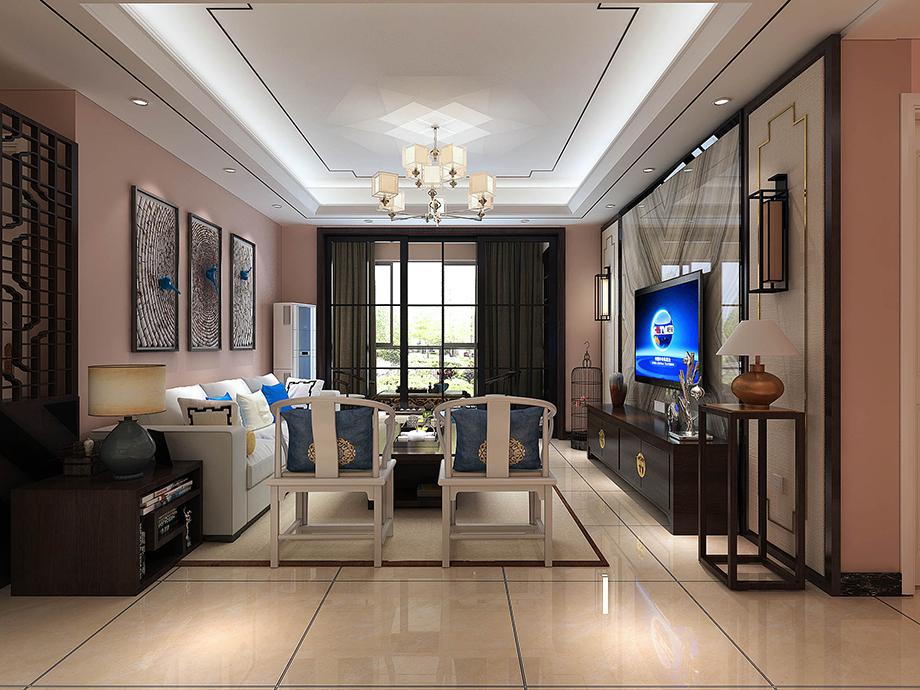 130.1平米三居室装修案例 中式半包8万!-风度天城装修