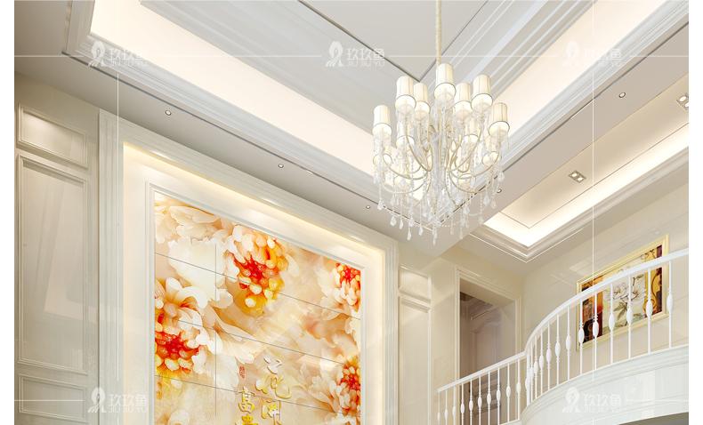 玖玖鱼 瓷砖背景墙 客厅复式电视背景墙瓷砖 微晶石现代简约 家和富贵