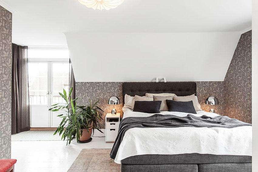 北欧风格雅致卧室壁纸装修效果图图片
