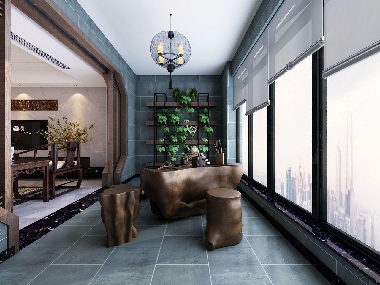 北京万科森林公园简中风格四居室装修效果图_150平米