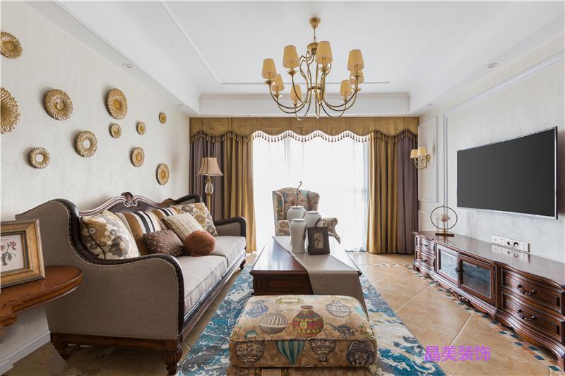 6万装修出129.25平米三居室美式风格,看过的人都点赞!-君临山装修