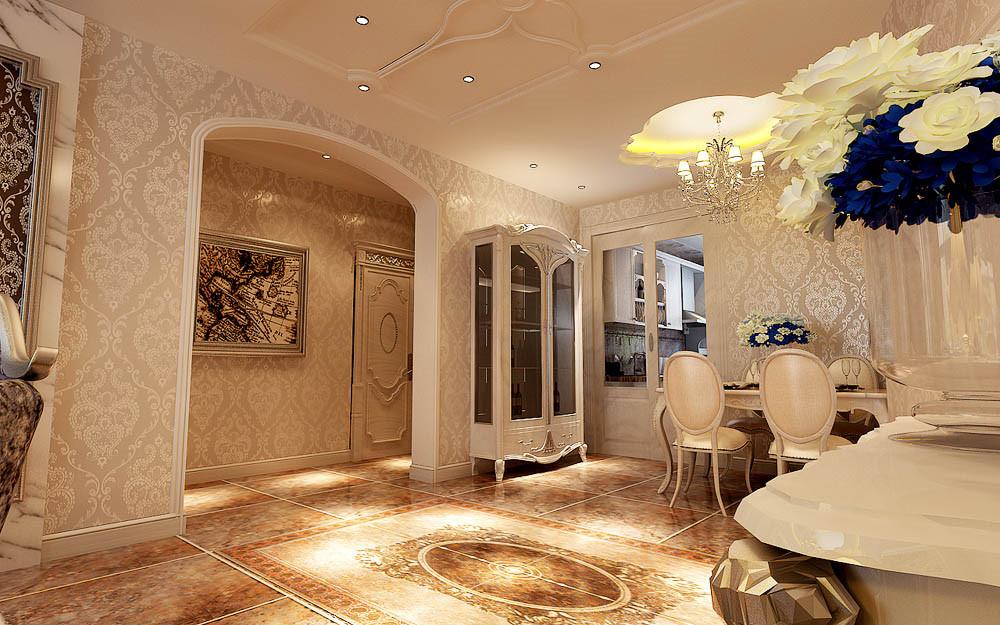 """本案设计手法上,突出了文化人温文尔雅、平和理性的特点,用浅橘色的整体色调,表达业主的温馨典雅。在设计风格定位上,吸取了文艺复兴时期""""巴洛克""""风格中的一些经典元素,既不过分张扬,而又恰到好处地把雍容华贵之气渗透到每个角落,既突出房屋本身的自然优势而又适当彰显业主的个人品味。"""